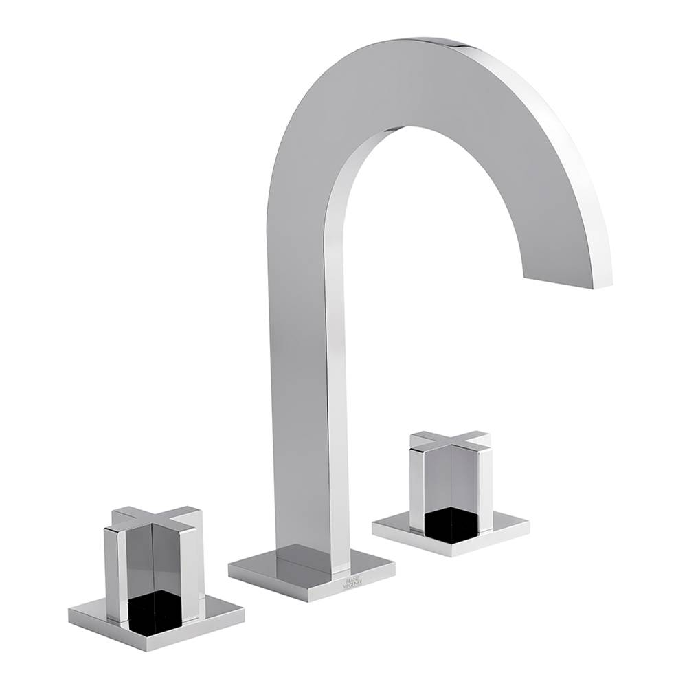 Franz Viegener Widespread lavatory faucet with push-down pop-up drain assembly (no lift rod)