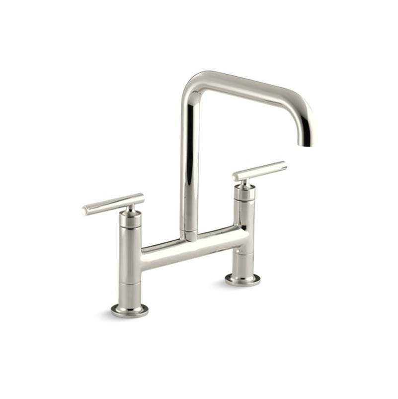 Kohler Purist® two-hole deck-mount bridge kitchen sink faucet with 8-3/8'' spout